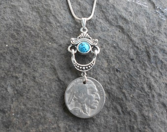 Unique Turquoise Hanging Buffalo Nickel Necklace!!!!  Great Look!!!  Wonderful Quality!!!  Perfect Gift!!