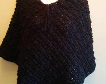 Poncho Crocheted with Drawstring detail at neck