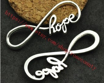 wholesale 100pcs Antiqued Silver Hope Infinity fingue 8 charms findings