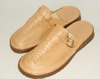 Mens Leather Slippers-Mules/House Shoes