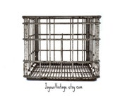 Broughtons Metal Milk Crate Industrial Carrier Basket Industrial Rustic Farm Milk Crate Man Cave