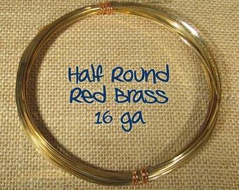 16ga 50ft DS Half Round Red Brass Wire
