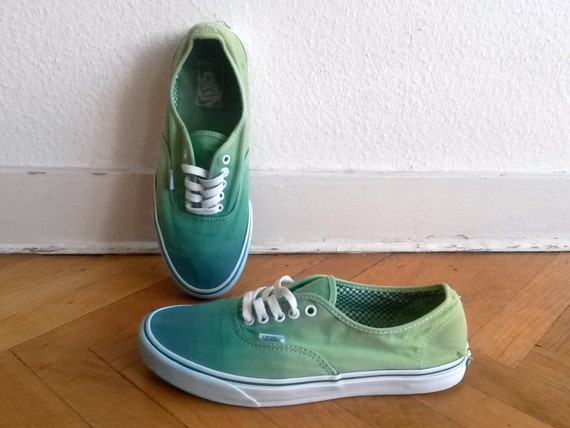 Green ombre Vans Authentic sneakers, upcycled vintage sneakers, size US Men's 10 (UK 9, EU 43)