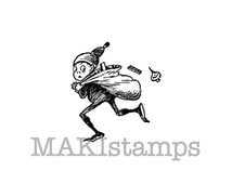 XMas rubber stamp/ Brownie carrying presents / Unmounted rubber stamp / Christmas stamp  (131110)