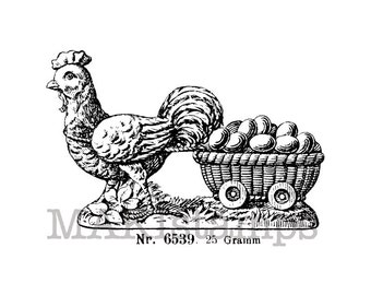 Easter rubber stamp / Hen with egg-cart / Unmounted rubber stamp  (130716)