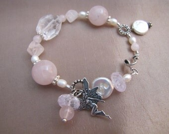 Rose & Clear Rock Quartz, Flat Disc Moon Pearl Baubles with Fairy Amongst Charms Bracelet - Sterling Silver Accents and Clasp 8 inches