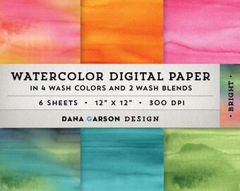 Watercolor Digital Paper Set in Bright Colors, Instant Download, printable scrapbooking digital collage clip art ClipArt, blue, pink, orange