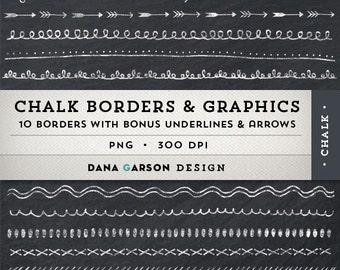 Chalk Borders with Bonus Chalk Arrows AND Bonus Chalkboard Digital Paper for invites, printing, scrapbooking, blogs, clipart, Clip Art