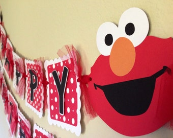 Elmo Birthday Banner Red white Elmo Banner party decorations