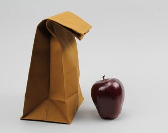 "SALE // The ""Brown"" Bag // Caramel Brown UNWAXED Canvas Lunch Bag, an updated, eco-friendly classic"