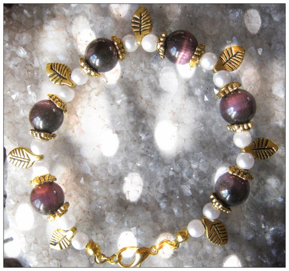 Handmade Gold Bracelet with Purple Cat Eye, White Pearls & Leaves by IreneDesign2011