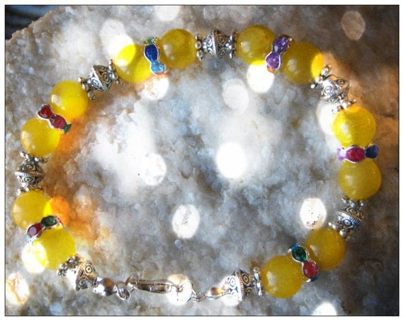 Handmade Silver Bracelet with Yellow Jade & Crystal by IreneDesign2011