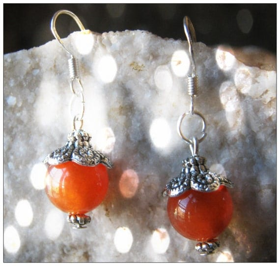 Silver Hook Earrings with South African Orange Topaz