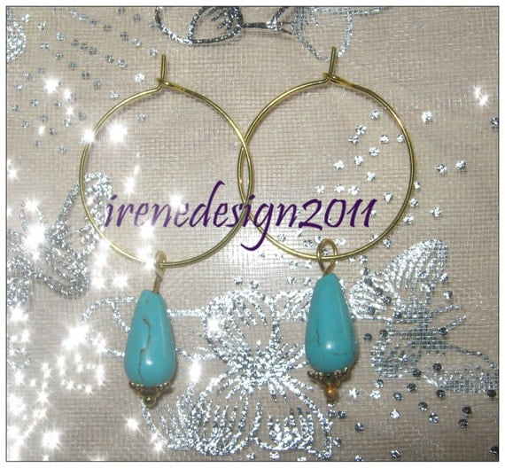 Beautiful Gold Hoop Earrings with Turquoise Drops