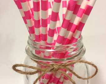25 Pink Stripes paper straws // baby bridal shower decorations // candy dessert buffet table // wedding // First birthday/new year party