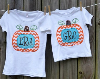 Personalized Pumpkin with monogram Applique Shirt or Onesie for Boy or Girl
