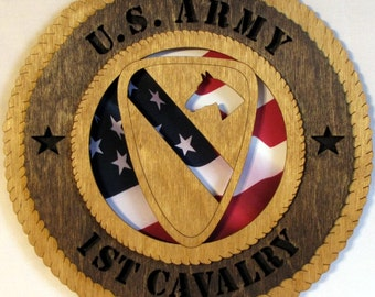 Army 1st Cavalry Laser Cut Military Wall Plaque with American Flag - Personalize It!