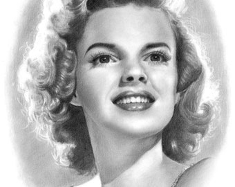 Judy Garland Pencil Portrait Drawing Print