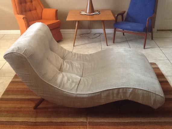 Vintage side lounge wave chaise chair mid century danish for Mid century modern chaise lounge chairs
