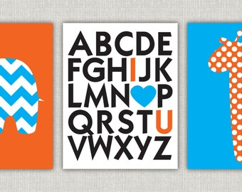 Set of 3 nursery prints- orange and blue elephant giraffe and alphabet 11x14