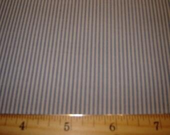 Per yard, blue and white narrow stripe Fabric