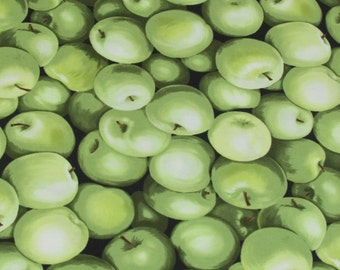 Per Yard, Realistic Green Apple Fabric From Timeless Treasures