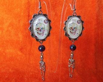 Skull Cabochon with Skeleton Earrings #0146