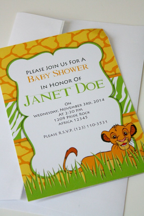 printable invitation lion king baby shower invitation