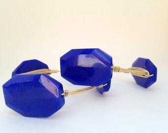 Coablt Blue Acrylic Wrapped Gold Bangle