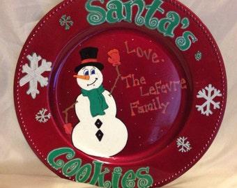 Personalized plate santas cookies
