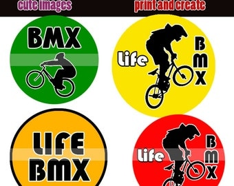 INSTANT DOWNLOAD  BMX 4x6 Bottle Cap Images Digital Collage Sheet for bottlecaps