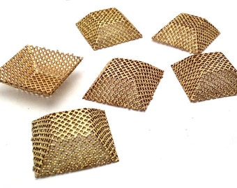 6x Vintage Perforated Brass Square Beading Findings 25x25mm