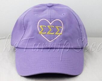 Sigma Sigma Sigma Sorority Baseball Cap - Pink Heart with Greek Letters