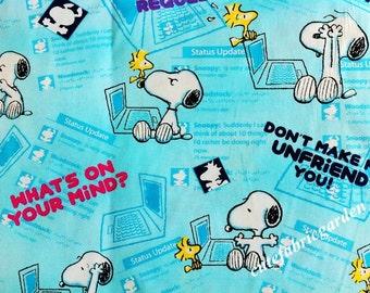 Cotton Fabric - 1 Meter Animal Cartoon - Cartoon Character - Snoopy - Sky Blue