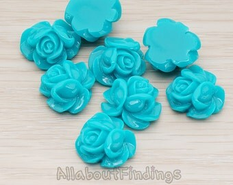CBC214-01-TE // Teal Colored Full Bloom Rose Flower Flat Back Cabochon, 4 Pc