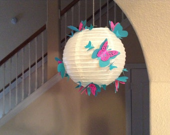 "8""  Blue Raspberry, paper lantern, wedding lantern, room decor, centerpiece, butterfly party, butterfly decor, hanging ceiling decor,"