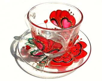 Red Poppies Teacup and Saucer,  Tea Cup Set, Tea Cups