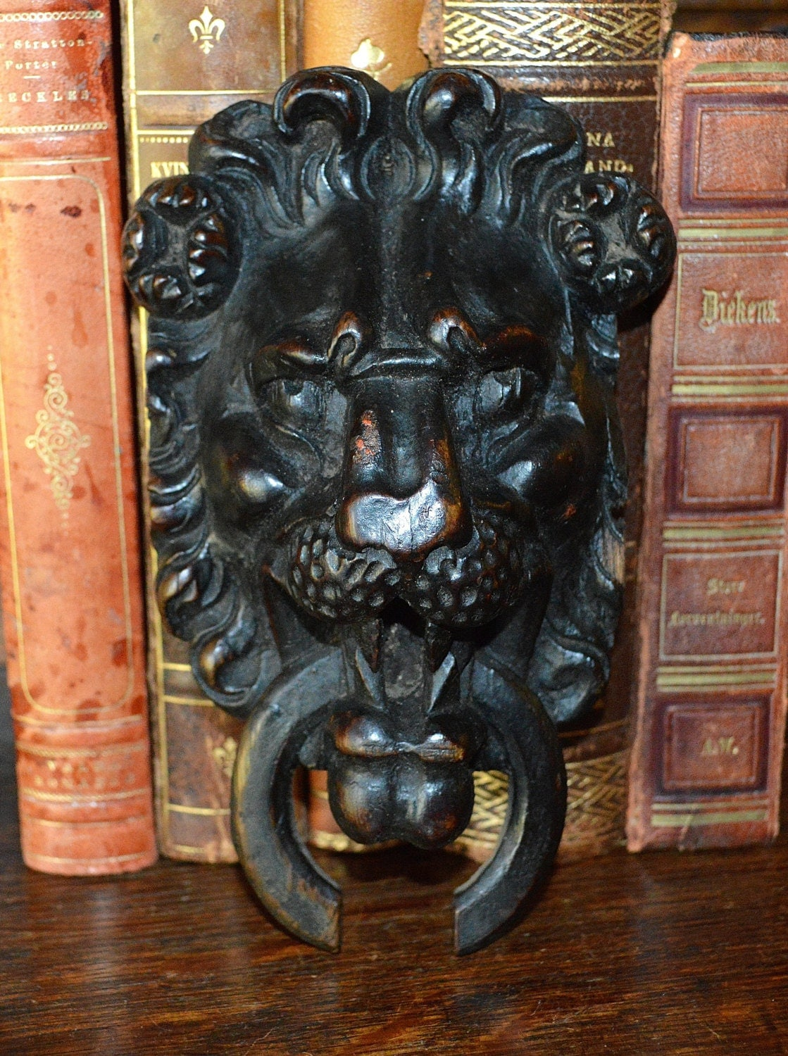 Antique german carved dark wood lion head with ring mount