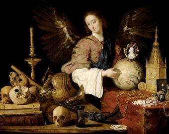 """Allegorie de Vanite, Antonio de Pereda y Salgado, 1634 11x14"""" Cotton Canvas Print"""