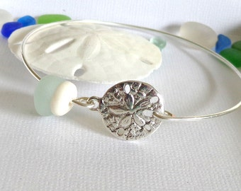 Sea Glass Jewelry  Beach Bangle Sand Dollar Puka Shell Bracelet