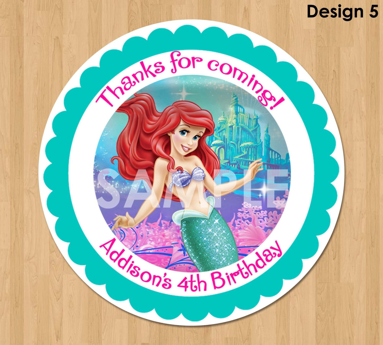 Little Mermaid Treat Bag Label Printable Princess Ariel - Ariel birthday invitations printable