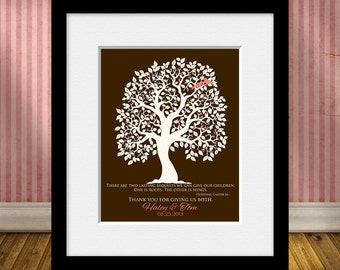 Parents Keepsake Thank You Print, Thank You For Giving Us ROOTS and WINGS, Wedding Tree Print with Love Birds, Thank You Parents Wall Print