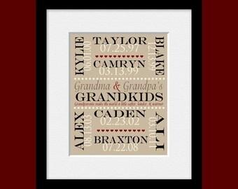 Special Occasion Gift for Grandparents, Grandchildren's Names and Birthdate Print, Personalized Grandparent Gift, Anniversary Gift