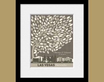 Unique Guestbook Alternative, Destination Wedding Decor, Las Vegas Wedding Guest Signature Tree, 16 x 20 Wedding Tree with 200 Leaves