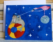 Miss You Card, Long Distance Relationship, Hand Illustrated, Disco Ball, Flamingo, Walrus, Blank Inside