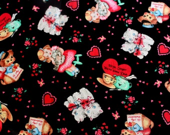 Closing Sale BTHY My Funny Valentine VERY Rare Valentine Retro Vintage Card Fabric OOP Vhtf Black By the Half Yard