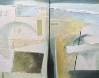 End Of Summer - original mixed media diptych painting on canvas, pale whites, blues, yellows, greens and grey, abstract