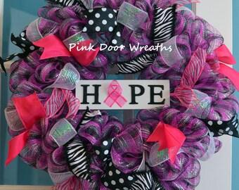 Breast Cancer Wreath BREAST CANCER SURVIVOR Awareness Hope black pink white mesh ribbons
