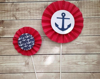 Nautical Baby Shower Pinwheel Centerpieces, Nautical Party Decorations