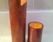 Two Piece Bamboo-Soy-Scented Candle and Vase- Marbled Finish-Rust Copper (Fire Cured Reusable Container) Choose Scent From List